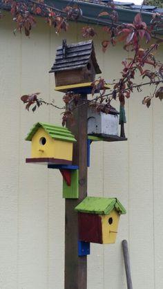 Our bird house tree house Bird Houses Painted, Decorative Bird Houses, Bird Houses Diy, Garden Crafts, Garden Projects, Homemade Bird Houses, Birdhouse Designs, Garden Ornaments, Yard Art