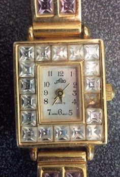 Pretty ladies Alto multicolor crystal gold tone quartz watch #Alto