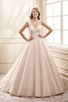 eddy k bridal 2016 cap sleeves v neck lace bodice ball gown wedding dress / http://www.himisspuff.com/v-neck-wedding-dresses/3/