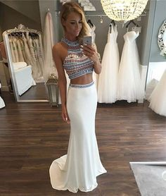 prom dresses,custom made white mermaid two pieces long prom dress, formal dress