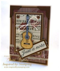 Inspired by Stamping August release Guitars and Background Basics Lines Masculine Birthday Cards, Birthday Cards For Men, Handmade Birthday Cards, Masculine Cards, Boy Cards, Kids Cards, Cute Cards, Musical Cards, Fathers Day Cards