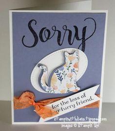 Stampin' Up! Dog Cards, Bird Cards, Pet Sympathy Cards, Sympathy Notes, Sorry Cards, Paper Cards, Cards Diy, Get Well Cards, Scrapbook Cards