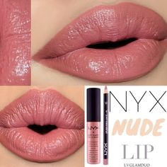 nyx nude pink lip pencil & nyx soft matte lip cream stockholm ~Recently tried some pearl pink NYX and was very disappointed:/