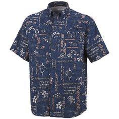 Columbia Sportswear PFG Super Tamiami Shirt - UPF 40, Short Sleeve (For Men) in Night Tide/Island Graffiti $40
