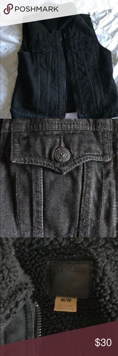 True Religion Vest (black) True Religion black denim vest with Sherpa lining, great quality piece that can go with any outfit True Religion Jackets & Coats Vests