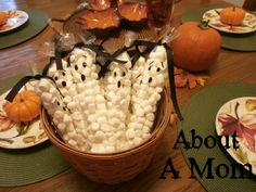 Mini Marshmallow Ghost Treat Bags for Halloween - About A Mom