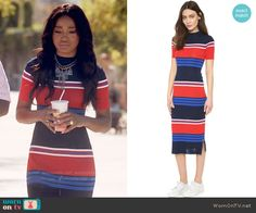 Zayday's red and blue striped midi dress on Scream Queens.  Outfit Details: https://wornontv.net/63134/ #ScreamQueens