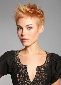 Short Dark Layered Brunette Pixie Cut