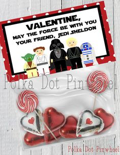 Star Wars Inspired Valentines Goodie Bag by PolkaDotPinwheel. Dominic's Valentine cards for all his family and friends! I'm so excited to hand these out this year.