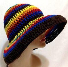 Multicolored Crochet Summer Hat Beach Hat Sun Hat - by Africancrab, $20.00 ♥ love