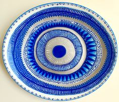 Evil Eye Decor - Decorative Plate - Mandala Decor - Blue Decor - Blue Wall Art - Modern Art - Wall Hanging - Greek Art - Decorative Mandala by biancafreitas on Etsy