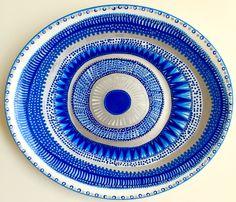 Evil Eye Decor - Decorative Plate - Mandala Decor - Blue Decor - Blue Wall Art - Modern Art - Wall Hanging - Greek Art - Decorative Mandala by biancafreitas on Etsy