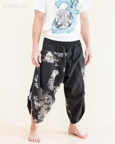 Mans Casual Lounge Sleep Sweatpants Hand Drawn Koi Fish Pants with Pockets