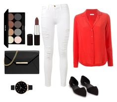 """""""Plain Jane"""" by adrianaaddai on Polyvore featuring Frame Denim, Equipment, Olivia Burton, Nly Shoes, Edward Bess, Rimmel and MICHAEL Michael Kors"""