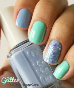love this beachy blue mani, and the nail polish colors are gorg!
