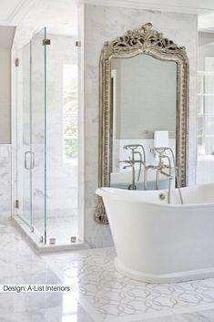 Bringing decorative tile to new heights, Nymeria channels mid-century glitz and glamour with a stark Bathroom Styling, Rustic Bathroom, Bathroom Interior, Bathroom Decor, French Country Bathroom, Beautiful Bathrooms, Luxury Bathroom, Bathroom Interior Design, Bathroom Design