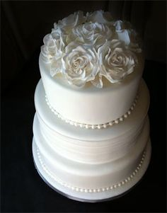 3 Tier Wedding Cake topped with Gumpaste Roses