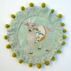 Folk goat with bobbles Modern Embroidery, Embroidery Art, Machine Embroidery, Journal Paper, Quilt Stitching, Fabric Art, Pet Portraits, Textile Art, Fiber Art