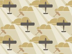 old gold aeroplane wallpaper designed by architect Raymond McGrath in the early 1930s