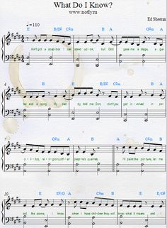 Piano Sheets What Do I Know? Ed Sheeran — Divide Songbook