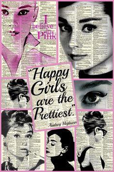 """My Creation: Audrey Hepburn """"I Believe in Pink"""" Collage ~ by Ladee Pink  **I am SOOO happy with the way this turned out! Please feel free to pin."""