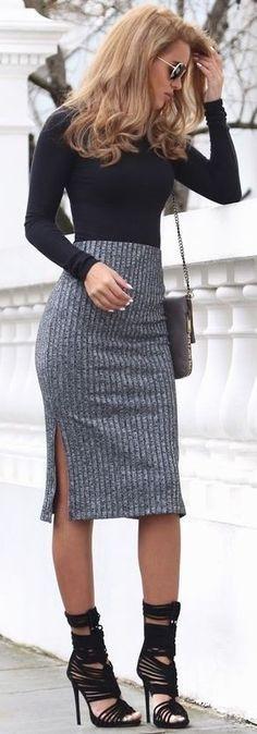 #summer #popular #outfits | Black and Grey + Ribbed