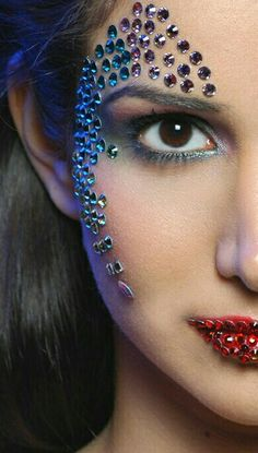 Another shot from the Make -Up shoot. Make-Up Part Two Rhinestone Makeup, Glitter Makeup, Sparkle Makeup, Fx Makeup, Beauty Makeup, Rave Makeup, Makeup Ideas, Story Starter, Crystal Makeup
