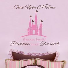 Princess Wall Decal - Princess Castle Personalized With Baby Name for Baby Girl Nursery or Girls Room Vinyl Wall Decal 34H x 36W GN040 on Etsy, $49.95