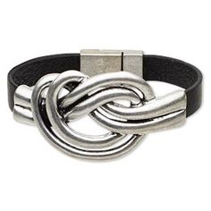 """Bracelet, leather (dyed) and antiqued silver-finished """"pewter"""" (zinc-based alloy), black, 9mm wide with 61x35mm double-knot design, 7-1/2 inches with magnetic clasp. Sold individually."""