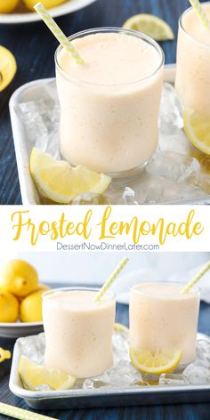 easy lemonade recipe This easy copycat Chick-Fil-A frosted lemonade recipe is creamy and sweet with the wonderful tang of lemon. A delicious frozen drink that turns lemonade into a Fruit Drinks, Smoothie Drinks, Yummy Drinks, Smoothie Recipes, Yummy Food, Smoothies, Beverages, Good Drinks, Orange Smoothie