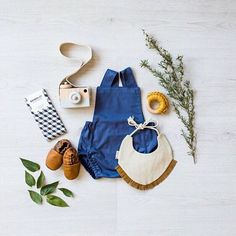 Our baby hamper box & Echo& in a flatlay. Baby hamper featuring romper, soft sole leather shoes, wooden camera, bib and a … Flat Lay Photography, Clothing Photography, Baby Winter, Summer Baby, Baby Hamper, Flatlay Styling, Little Fashionista, Baby Wearing, Kids Outfits