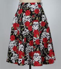 Skull and rose full circle skirt