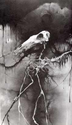 From the always indispensible 'Scary Stories to Tell in the Dark,' by Alvin Schwartz. Amazing illustrations by Stephen Gammell. True artistic legends of my formative time, barely escaping censorship many times, only to be recently reprinted with 'less graphic' illustrations.