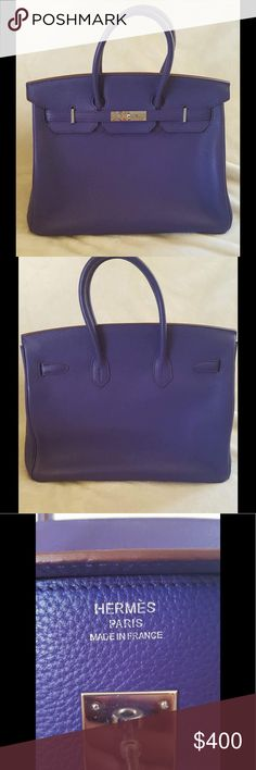 Birkin 35 Purple Excellent Condition Hermes Bags