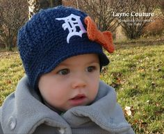 The Original- Girls Detroit Tigers Crochet Newsboy Hat with Old English D Patch / Major League Baseball Baby / Photo Prop / Item 100 on Etsy, $29.99