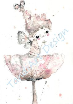 Thumbelina   watercolour painting original painting