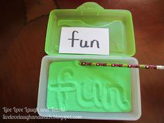 This is an excellent​ manipulative for students to use while practicing Spelling/Sight Words. I would probably have a couple of these sandboxes at a center for students to practice their spelling/sight words. Sight Word Activities, Literacy Activities, Educational Activities, Spelling Activities, Word Games, Spelling Ideas, Listening Activities, Spelling Words, Literacy Centers