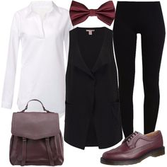 Camicia bianca in chiffon, gilet nero leggero con tasche e scollo classico, comodi leggins neri. Accessori bordeaux: farfallino, scarpe stringate in pelle, zaino in finta pelle.