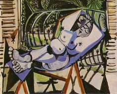 Pablo Picasso - Female Nude Near the Garden, 1956 Pablo Picasso, Kunst Picasso, Art Picasso, Picasso Paintings, Oil Paintings, Art Sur Toile, Cubist Movement, Spanish Painters, European Paintings