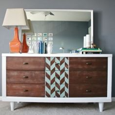 Take an old thrifted dresser from dated to delectable with a little paint, a bit of stain and one gorgeous stencil.