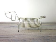 Brass Letter Holder Wire Dog Coil Design by 22BayRoad on Etsy