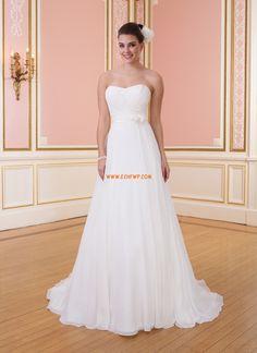 Chiffong Elegant & Lyxig Ärmlös Bröllopsklänningar 2014