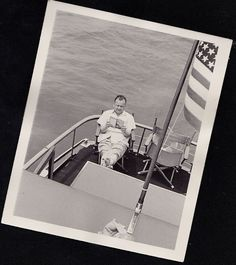 Vintage Antique Photograph Man Sitting on Boat Reading Book American Flag US