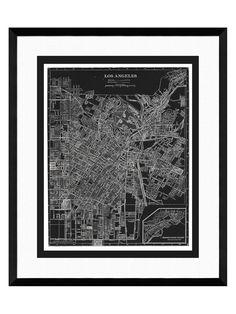 PTM Images Map of los Angeles Framed Print