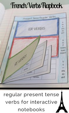 Give your students an organized, at-a-glance reference section for recording regular present tense French verbs. This flapbook is designed for er, ir, and re verbs. I love using flapbooks like these in interactive notebooks to make conjugations a bit more hands-on!