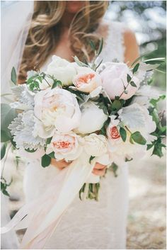 blush and silver green bridal bouquets