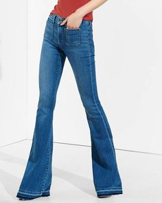 """Express's """"Mid Rise Released Hem Bell Flare Jean"""" has released hems that are pretty groovy!"""