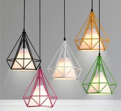 Scandinavian loft pyramid lamp metal cage with led bulb - Free Shipping