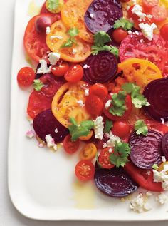 Tomato and Beet Salad goes really well with grilled chicken or burgers!