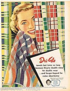 AUSTRALIAN Vintage Advertising DRI-GLO TOWELS BOND'S BATH ART 1950's Original Ad